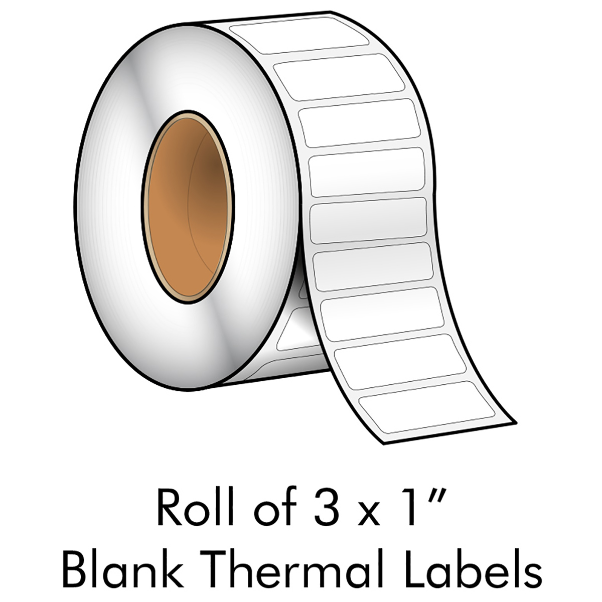"3"" x 1"" White Blank Thermal Transfer Label"