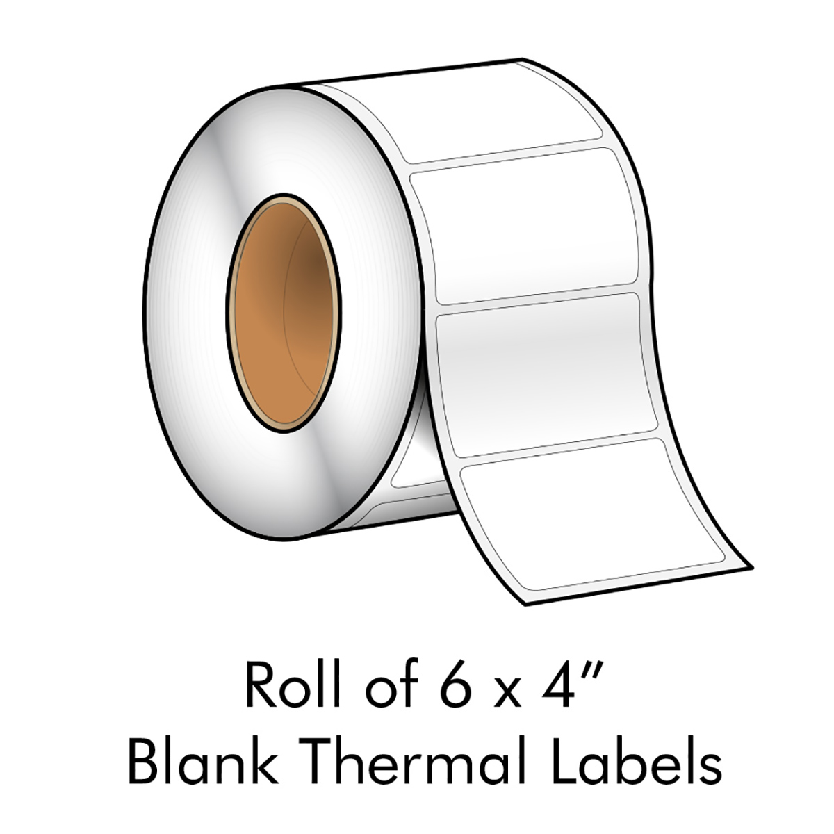 "6"" x 4"" White Blank Thermal Transfer Label"