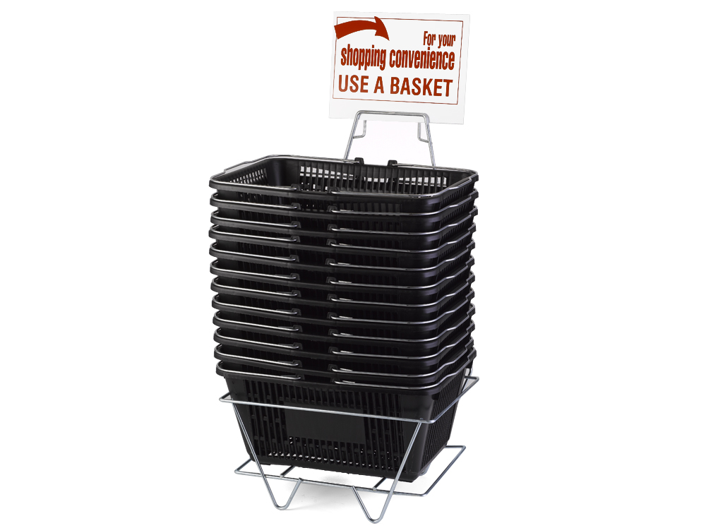 Wire Handle Baskets, Black, Stand and Sign Set
