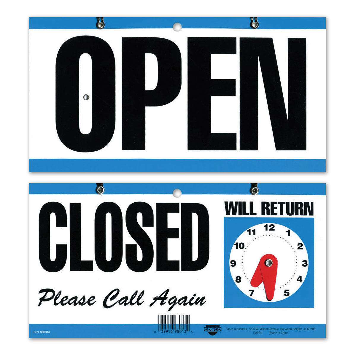 OPEN | CLOSED Please Call Again with WILL RETURN Clock