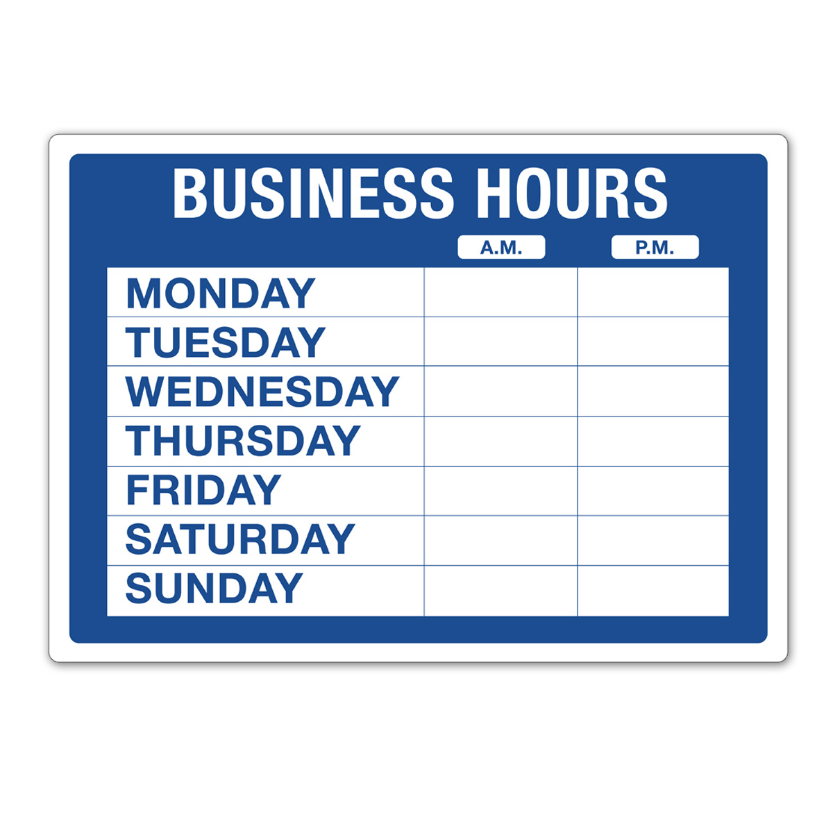 Static Cling BUSINESS HOURS Kit - 098023