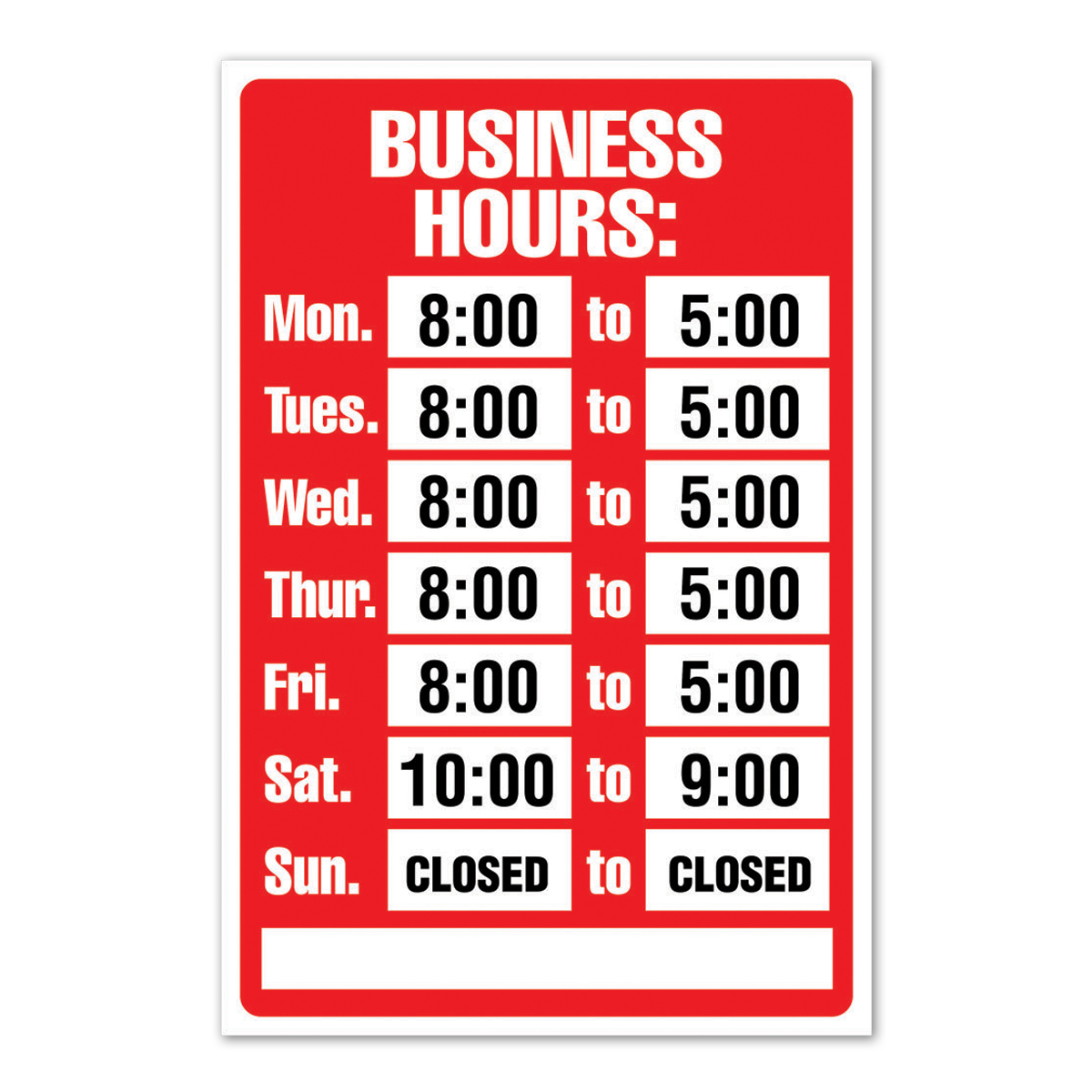 BUSINESS HOURS, Red/White - Static Cling Kit - 098071